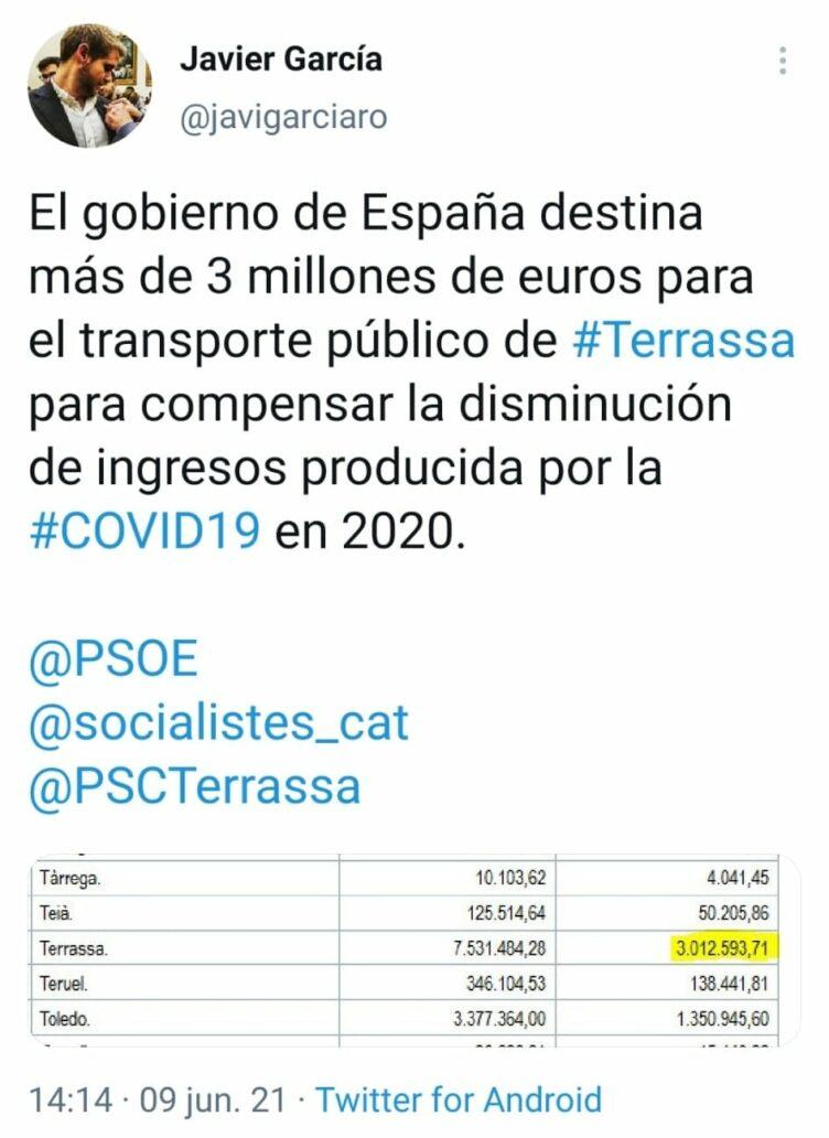 Gobierno de España destina 3 millones de euros para Terrassa